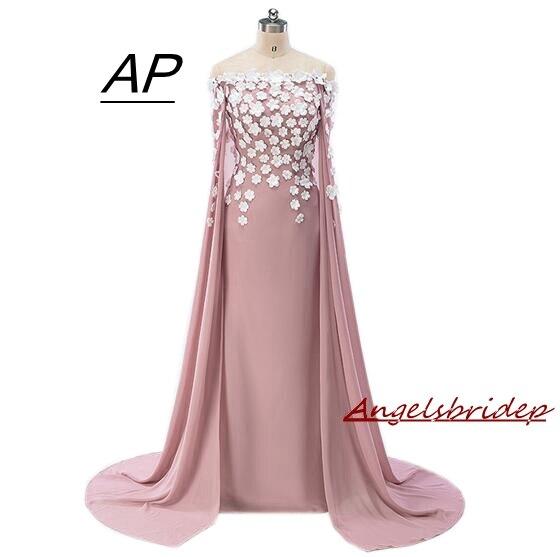 ANGELSBRIDEP Charming White Flowers Elegant Evening Dresses Long With Cap Custom Size Party Dress 2019 Plus