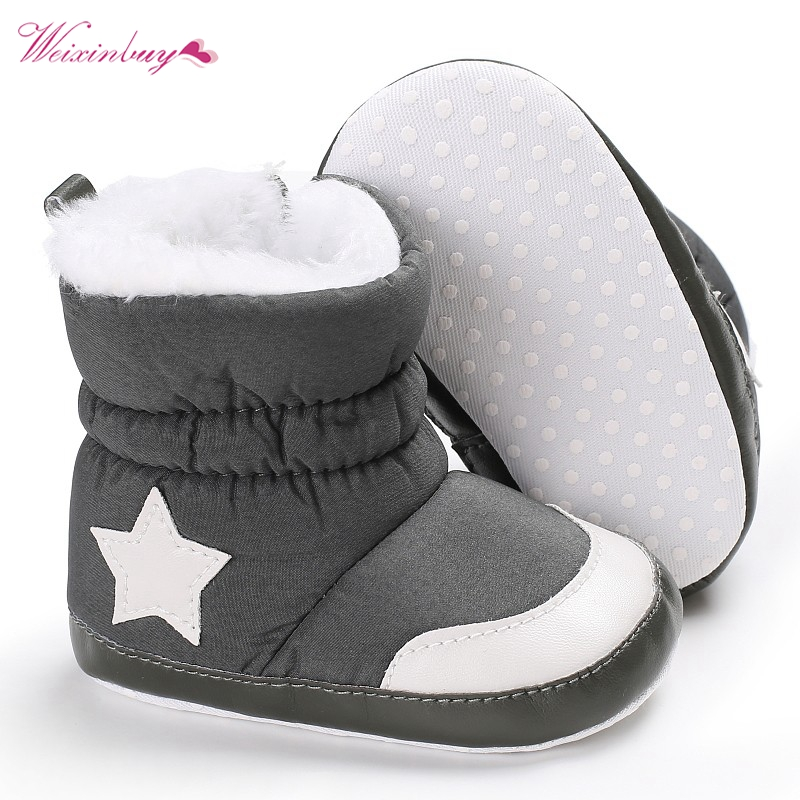 Weixinbuy Toddler Baby Boy Girl Soft Sole Anti Slip Snow Boots Winter Crib Shoes
