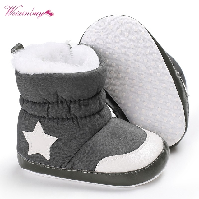 Newborn Baby Boots Kids Winter Shoes Crib Bebe Infant Toddler Five Star Pattern Snowfield Snow Boots Booty