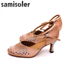 Samisoler  New Flash Cloth Collocation Shine Ribbons Ballroom Fashion R Dance Women Latin Competition Shoes