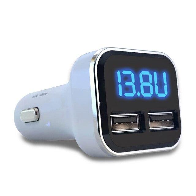 2019 nuevo 4.8A 5 V cargador de cigarrillo Dual USB para coche con pantalla LED Volt Amp Metro DC para iPhone Samsung