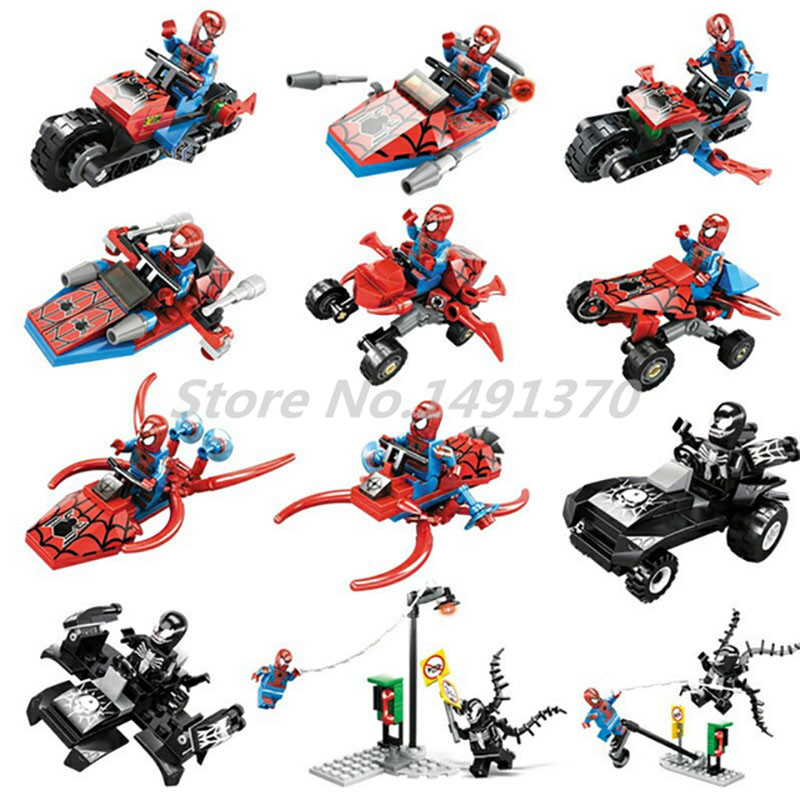 KAZI 60011 Building Block New 6 in 1 Spider Man Super Hero Venom Figure Toys Spiderman Motorcycle Kids Christmas Gifts new hot 10cm spider man avengers super hero action figure toys spiderman doll christmas gift with box