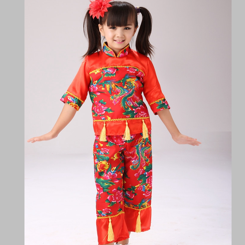 Chinese Folk Dance Oriental Childrens Costumes  Girls Traditional