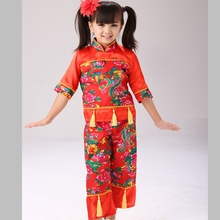 Chinese Folk Dance Oriental Dance Children's Dance Costumes  Girls Traditional Chinese Dance Costumes цена и фото