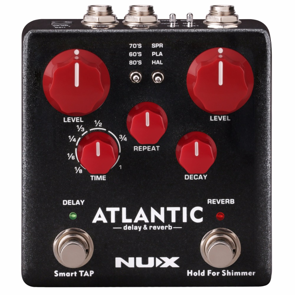 nux atlantic multi delay and reverb effect pedal with inside routing and secondary reverb. Black Bedroom Furniture Sets. Home Design Ideas