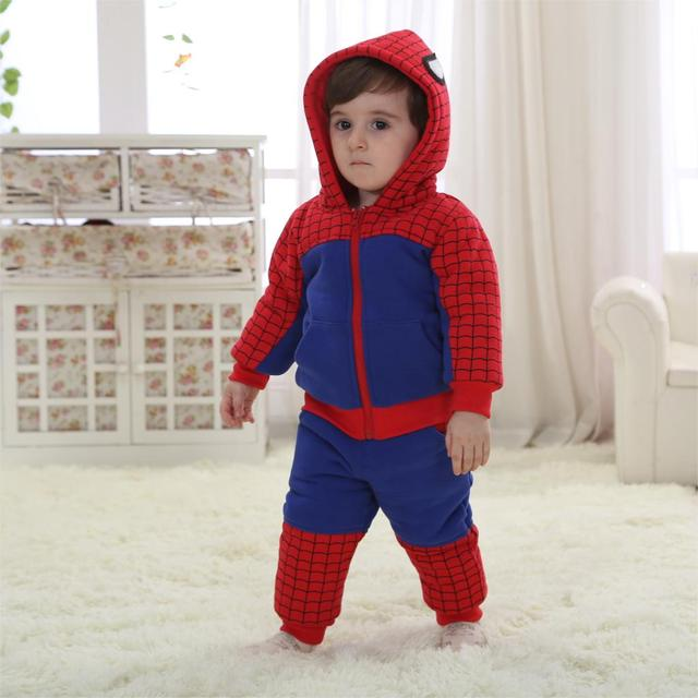 Winter Spiderman Baby Clothing Set Warm With Hood Costume For Baby 5