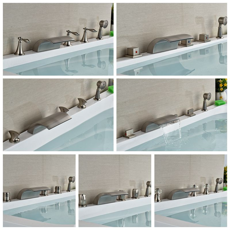 Wholesale And Retail Brushed Nickel Waterfall Spout Bathroom Tub Faucet W/ Hand Shower Sprayer Deck Mounted Shower Mixer Tap wholesale and retail deck mounted waterfall bathtub faucet chrome finish bath spray w hand shower