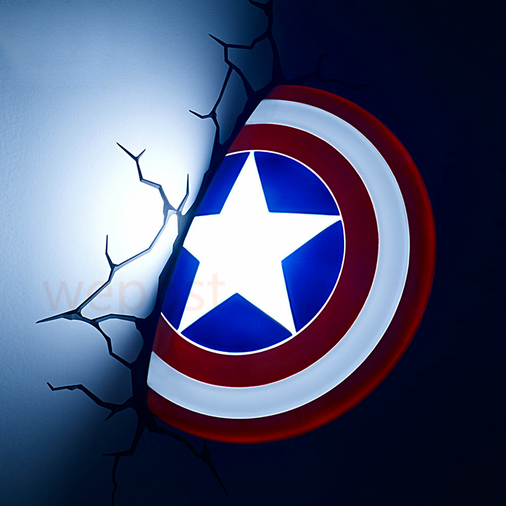 New 3D Avengers Alliance Captain America Shield Creative LED Wall Lamp Night Light Living Room ...