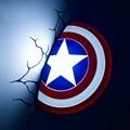 New 3D Avengers Alliance Captain America Shield Creative LED Wall Lamp Night Light Living Room Child Baby Bedroom Decor Lamp