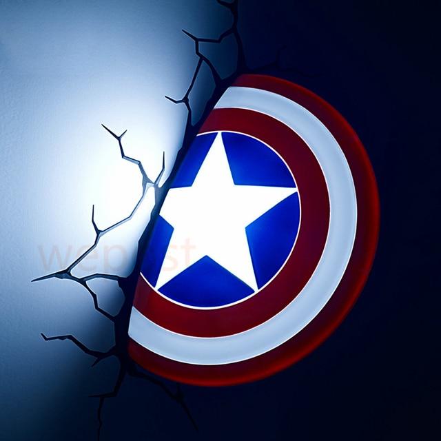 New 3D Avengers Alliance Captain America Shield Creative LED Wall Lamp Night Light Living Room Child