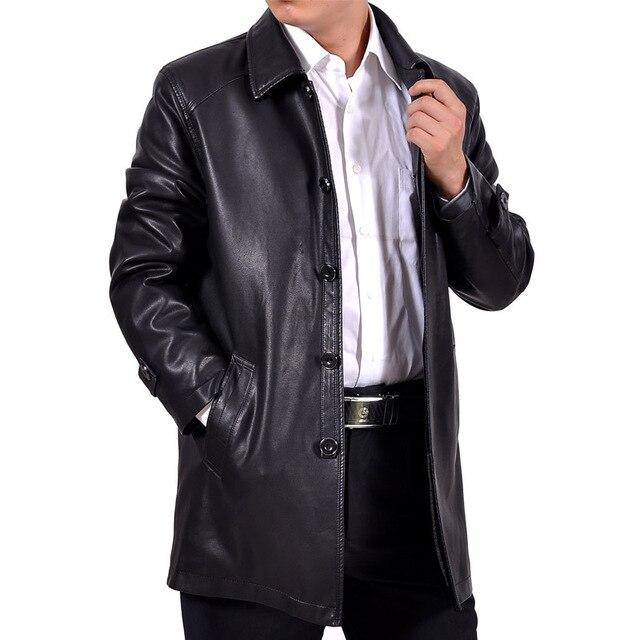 Бесплатная доставка мужской классический деловой случай в длинный абзац кожаное пальто лацкан лайнер бархат Мыть кожаные куртки