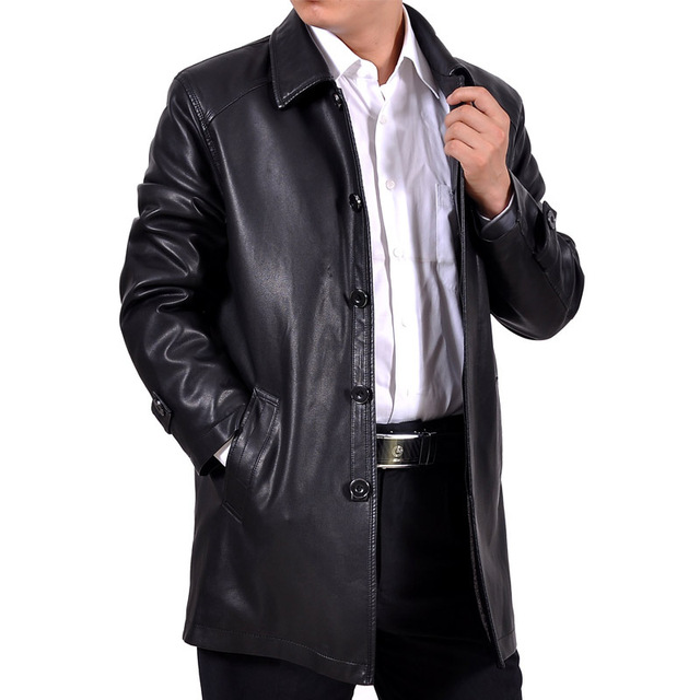 Free shipping Men's classic business casual in a long paragraph leather coat lapel liner velvet Washed leather jackets