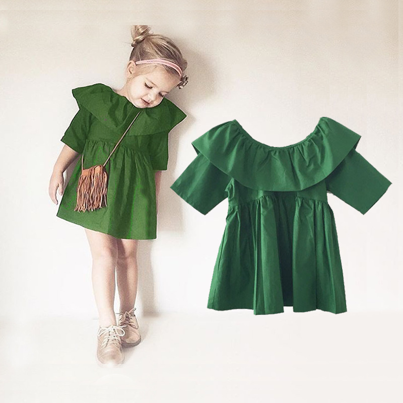 Lollas Spring/Summer New Girls Super Green Ear Green Europe and the United States Green Dress