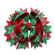 5 inch Holiday hair bow, Christmas boutique red toddler girls bow