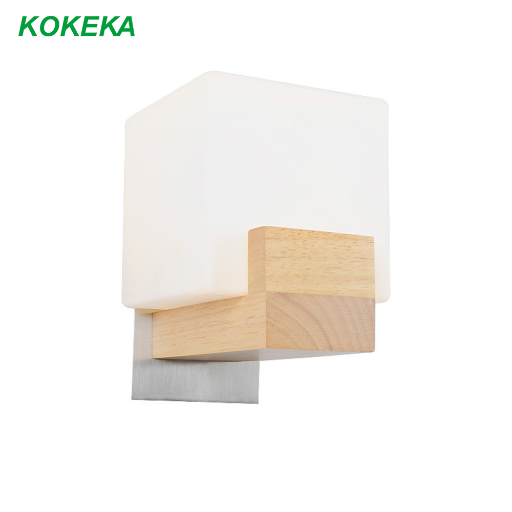 Applique murale chêne bois Led E27 vis ampoule créative verre abat-jour pour maison chambre Restaurant couloir salon décoration