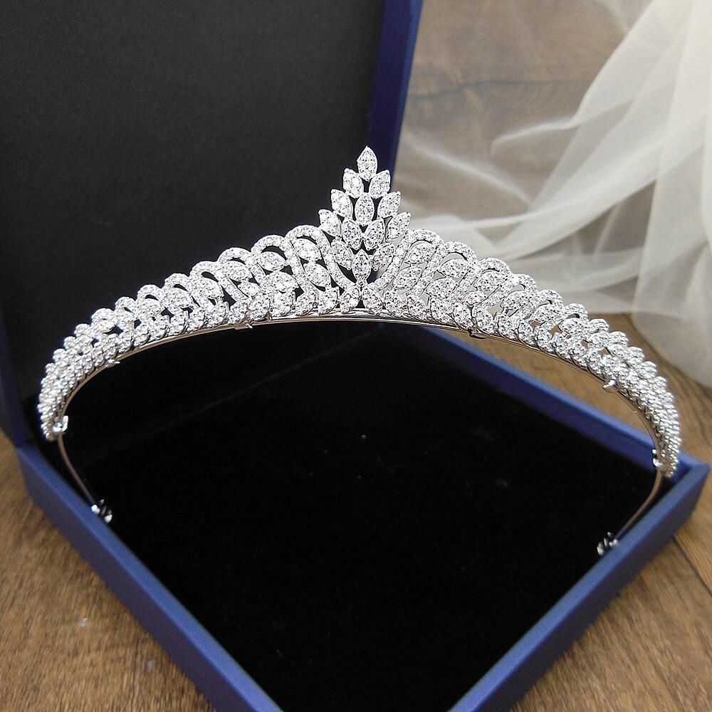 Свадебная тиара принцессы из циркония, свадебные украшения для волос тиары и короны, диадемы, свадебные тиары, WIGO1365