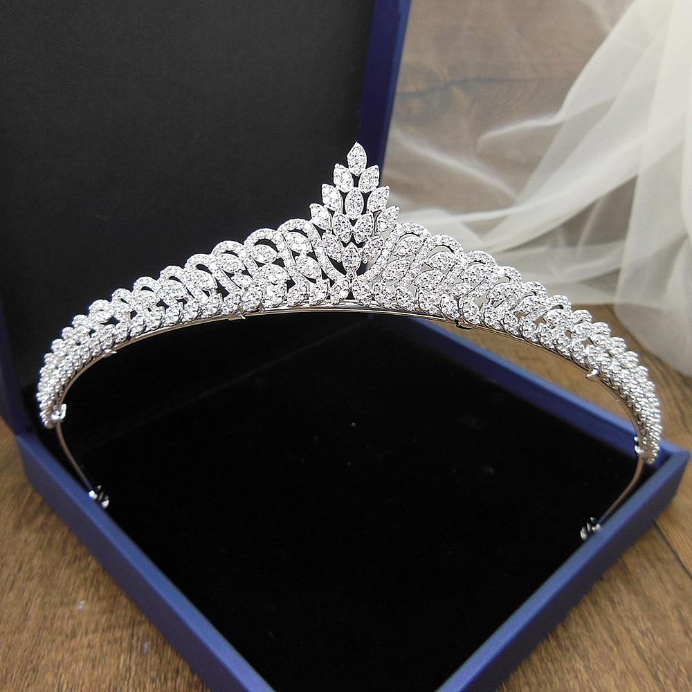 Zircon Princess Wedding Crown Bridal Tiara Bride Hair Jewelry Tiaras And Crowns Diademe Couronne De Mariage WIGO1365