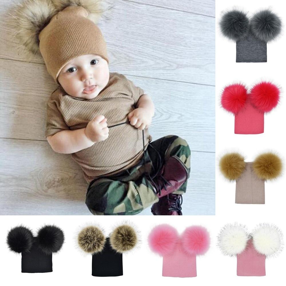 *SALE* Infant Baby Kids Unisex Faux Big Raccoon Fur Pompom Hat//White//Pink//Blue