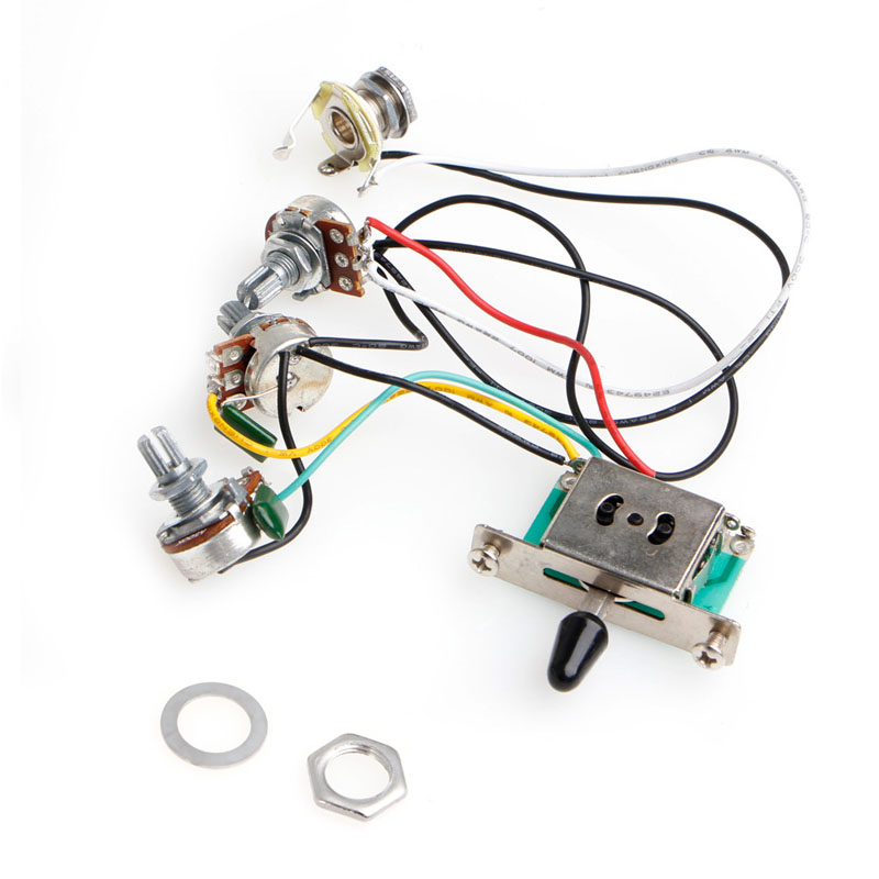 1PC Strat Stratocaster Guitar 5-Way Switch 250k Pots Knobs Wiring Harness Pickup Guitar Parts Knobs Jacks Switches