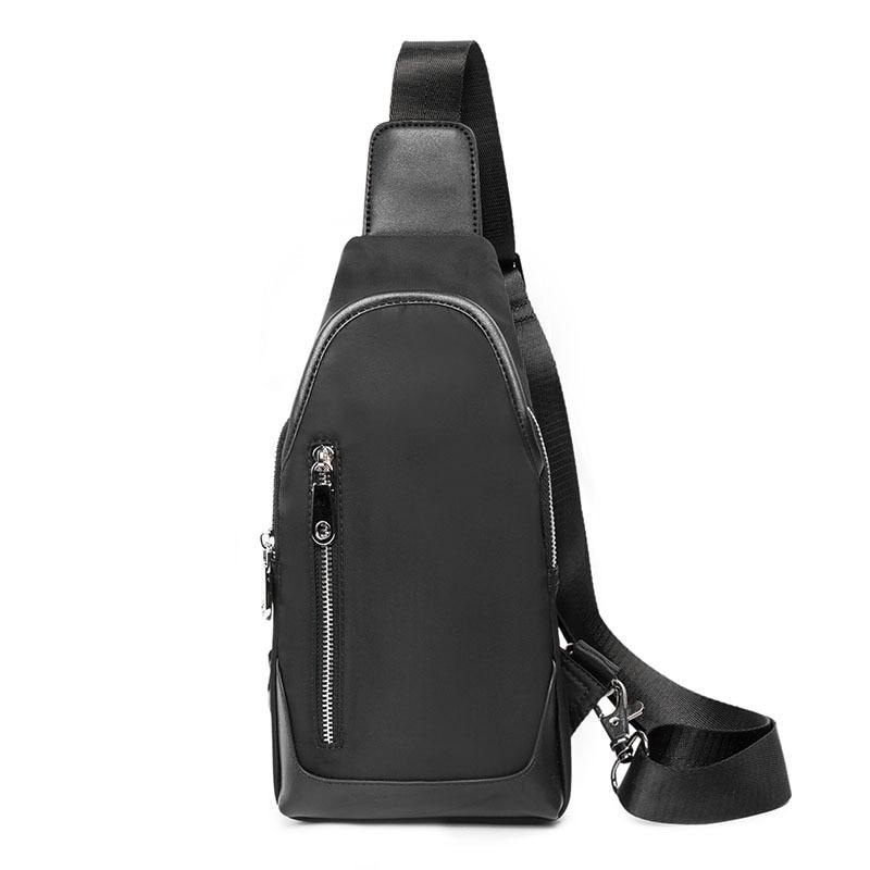New Crossbody Chest Bags for Men Messenger Bag Pack Casual Bag Waterproof Nylon Single Small Shoulder Strap Pack Black Flap