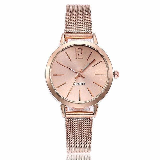 Moda Kadınlar Paslanmaz Çelik Gümüş Altın Örgü Izle Benzersiz Basit Saatler Casual Kuvars Saatı Saat Sıcak Satış