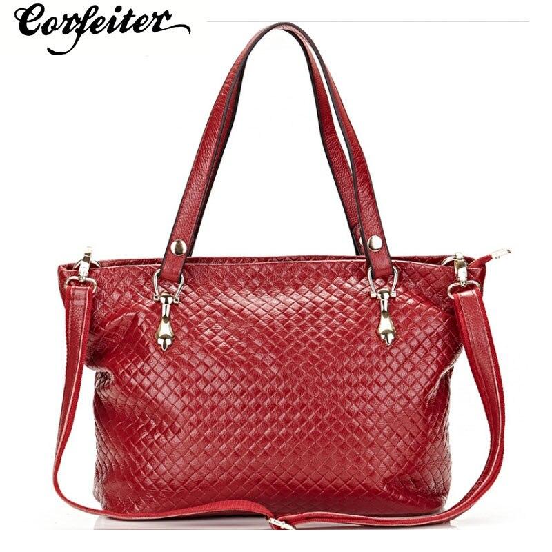 fashion women shoulder bag genuine leather knitting pattern handbag female cowhide Cow Leather crossbody bag