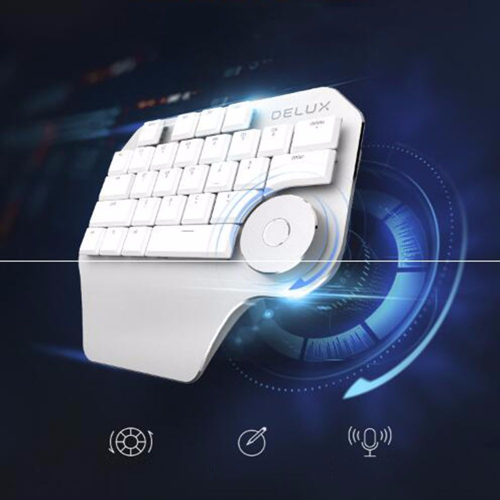 1 Pc Portable 28 Key Wired Single Handed Designer Michanical Keyboard with Rotary Knob for Office & Home & Designing