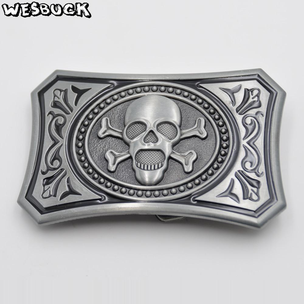 WesBuck Brand Metal DIY Belt Buckle Skull Fashion Cowboy Cowgirl Belt Buckles With PU Belt