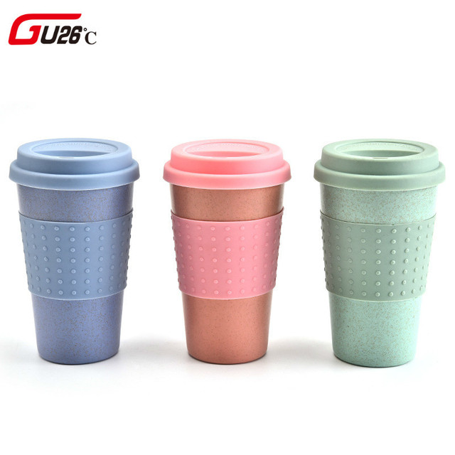 New Wheat Straw Plastic Coffee Cups Travel Pink Green Mug With Lid Easy Go Cup