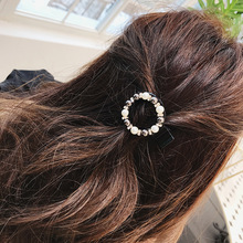Ubuhle Women Pearl Shining Hair Clips Fashion Round Hairpin Headwear for Black Metal Barrette Pins Accessories