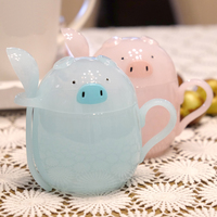 Cute Piggy Plastic Drinking Cups Children S Favorite Cartoon Blue Pink Pig Cup Animal Water Cups