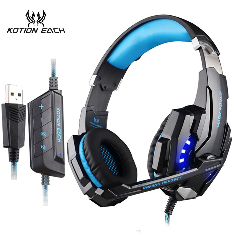 KOTION EACH Gaming Headset USB 7.1 Surround Sound Gamer Game Headphone 7.1 Earphone PC Headphone For Computer With Microphone kotion each g9000 7 1 surround sound gaming headphone game stereo headset with mic led light headband for ps4 pc tablet phone