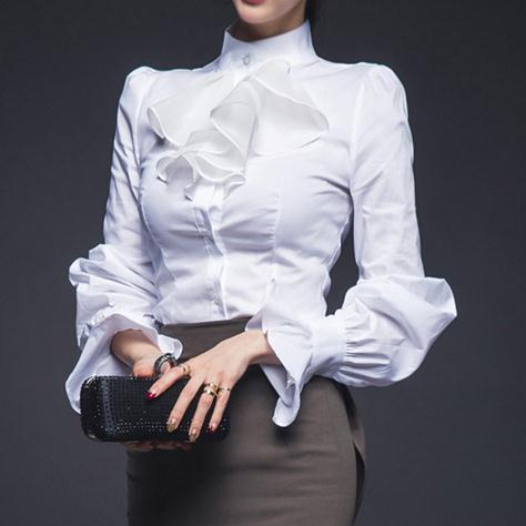 cc42c12a6735e9 Women high quality elegant blouse stand collar ruffles lantern sleeve chic  blouse ladies slim OL white blouse free shipping