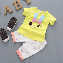 YiErYing 2PCS Baby Clothes Sets Summer Short Sleeve Cute Cartoon Rabbit Boys Girls T-shirt+Pant Newborns Clothing Suits