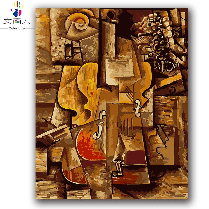 Picasso abstract oil painting,colorful violin digital painting by numbers with kits on canvas draw coloring pictures by numbers Picasso abstract oil painting,colorful violin digital painting by numbers with kits on canvas draw coloring pictures by numbers