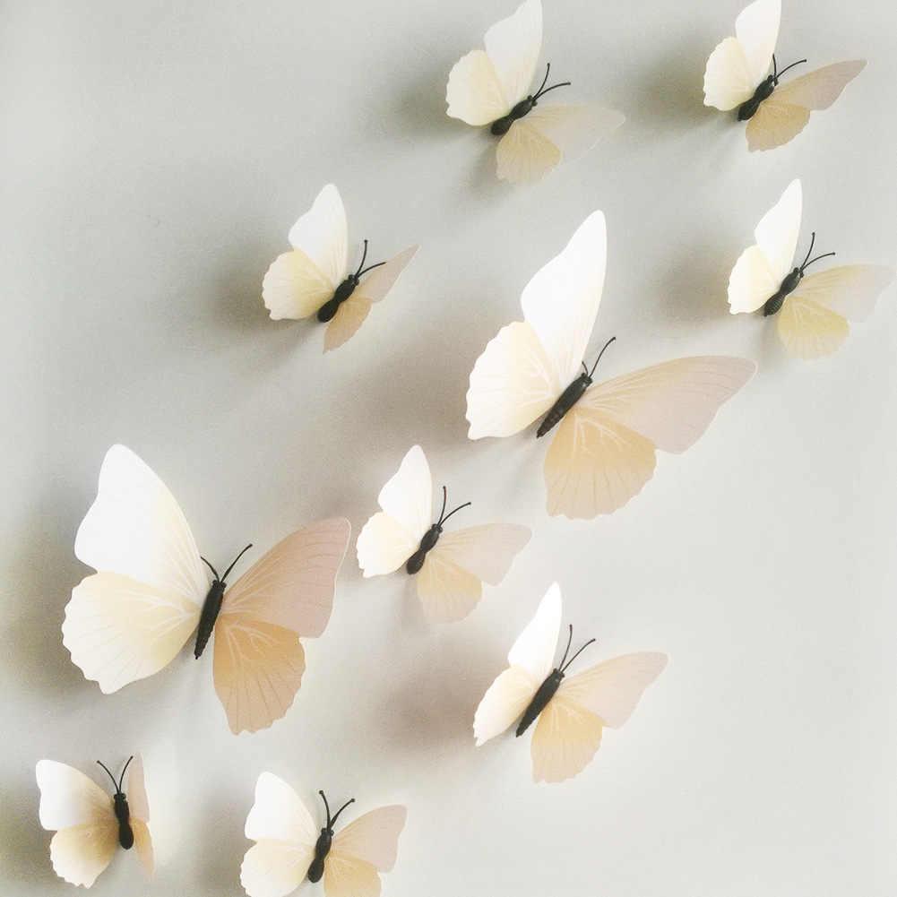 Стенные наклейки из полихлорвинила бабочки 3d, 12 шт