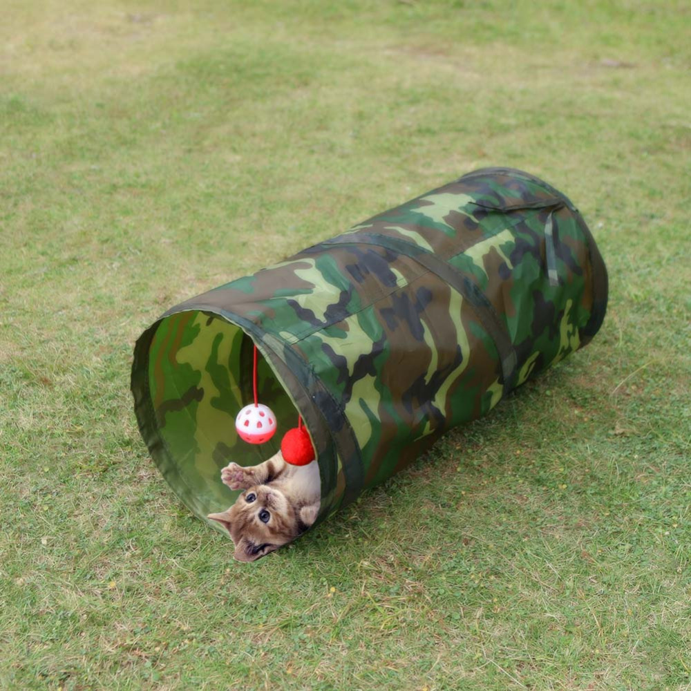 Pet Cat Tunnel Toy With Bell Foldable Lovely Crinkly