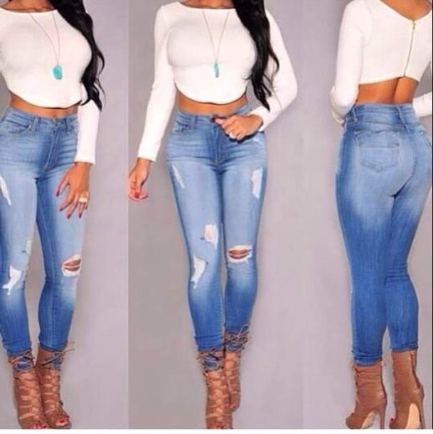 44ea0c53567 2015 high waist skinny tight long jeans pencil Stretch ripped Denim pants  plus size for womans woman female