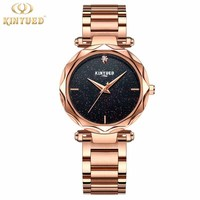 KINYUED Fashion Dress Womens Watches Romantic Sky Quartz Wrist Watch Rhinestones Design Flower Face Stainless Steel Ladies Clock