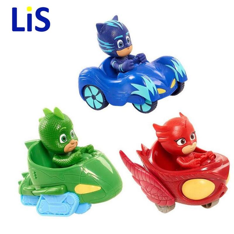 AbcdeFgH Store Lis New Arrival PJ Vehicle Characters Slide Cars Catboy Owlette Gekko Cloak Action Figure Toys Boy Birhday Gift for Kids P817