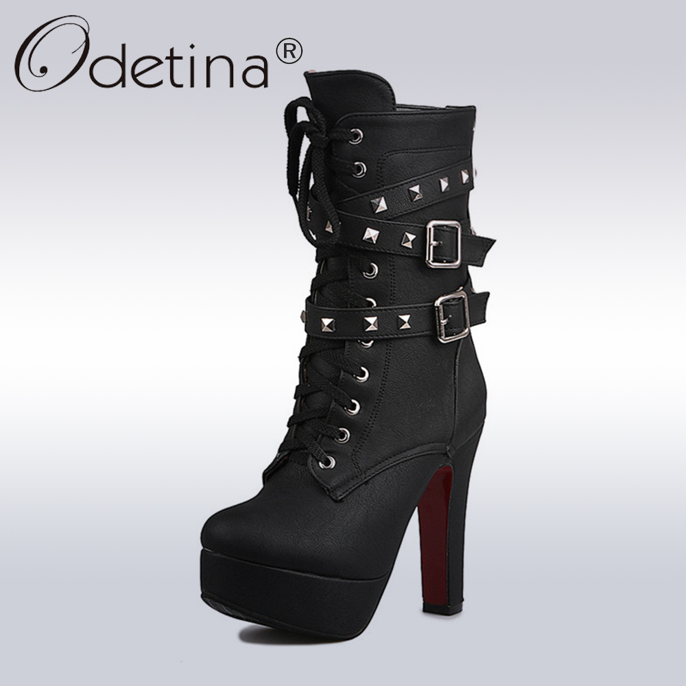 Odetina 2018 Sexy Extreme High Heels Black Women Platform Motorcycle Ankle Boots Lace Up Rivets Punk Boots Buckle Straps Ladies