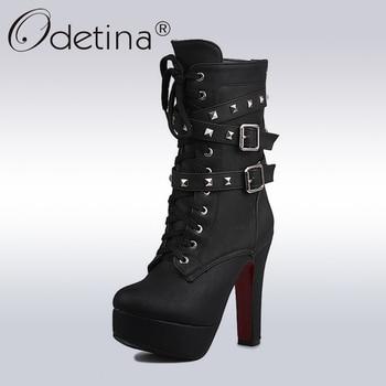 8a014c768 Odetina 2018 Sexy extrema alta tacones negro Plataforma de las mujeres de  la motocicleta botas de tobillo de encaje remaches Punk botas hebilla  correas