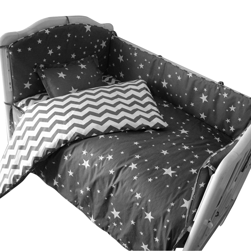 3 to 7Pcs Cotton Baby Bedding Set Grey Star Pattern Baby Bed Linen For Newborns Baby Sheet Bumpers Pillow Duvet Crib Bumpers