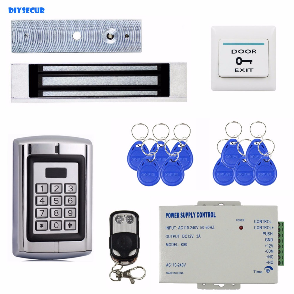 DIYSECUR Remote Control Magnetic Lock 125KHz RFID Reader Password Metal Keypad Access Control System Security Kit BC2000 diysecur 280kg magnetic lock 125khz rfid password keypad access control system security kit exit button k2