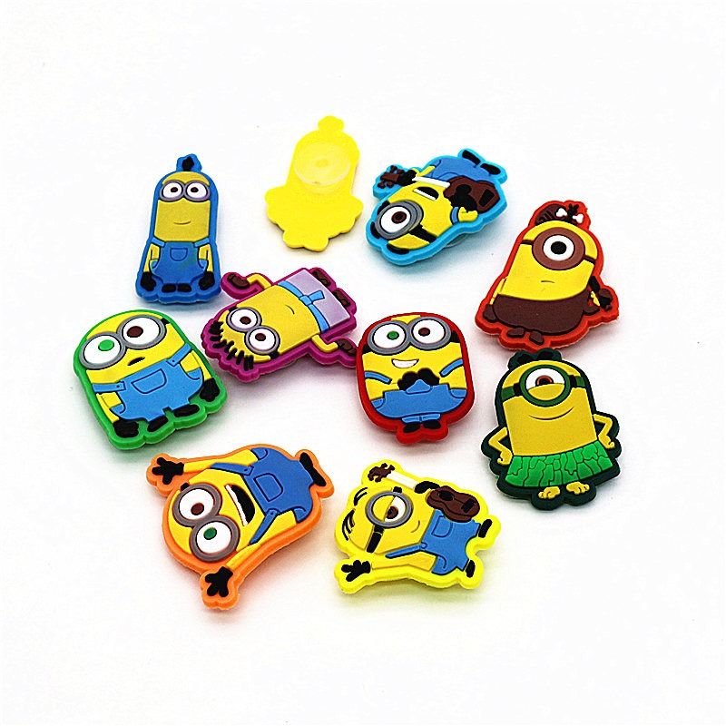 Novelty Cute 10pcs A Set Pvc Cartoon Minion Garden Shoes Buckles Accessories Charm Decorations Fit Bands/bracelets/croc/jibz D06 Shoes Shoe Accessories