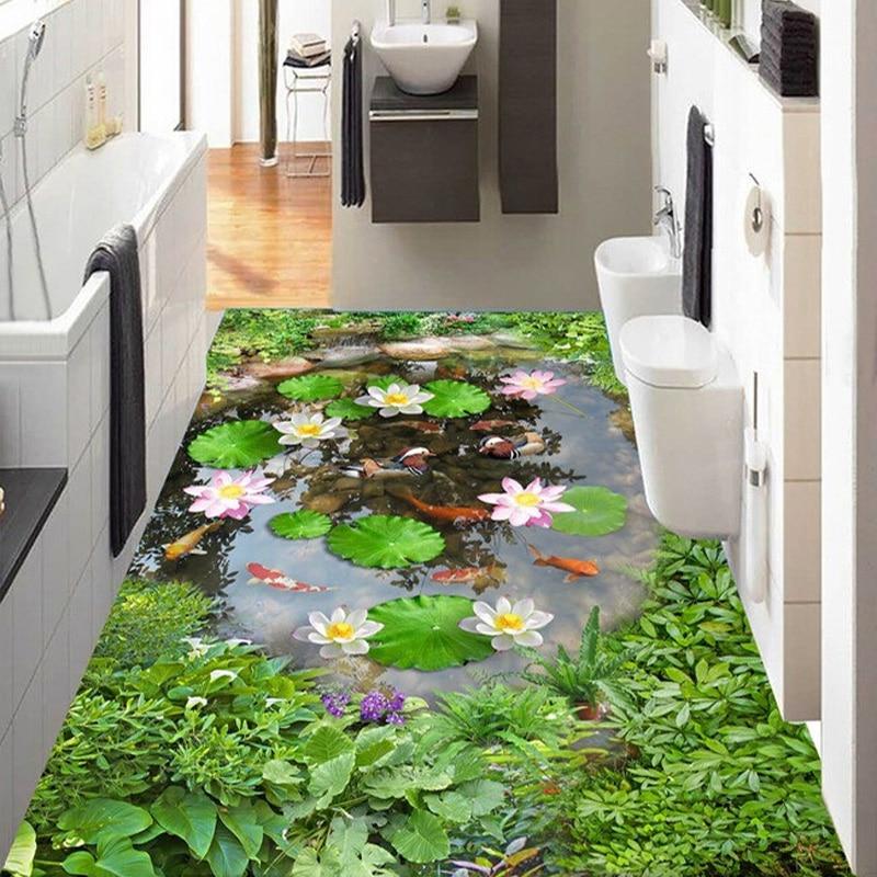 Photo wallpaper 3d lotus pond floor tiles murals living for Room decor 3d self adhesive wallpaper