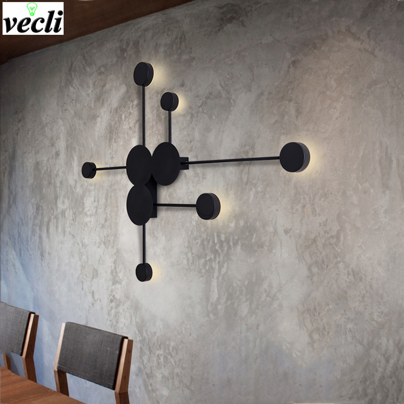 NEW Nordic creative wall light modern LED living room wall lamp aisle lighting fixtures Black or White Round Iron wall sconce оружие игрушечное uncle milton uncle milton мини световой меч star wars science