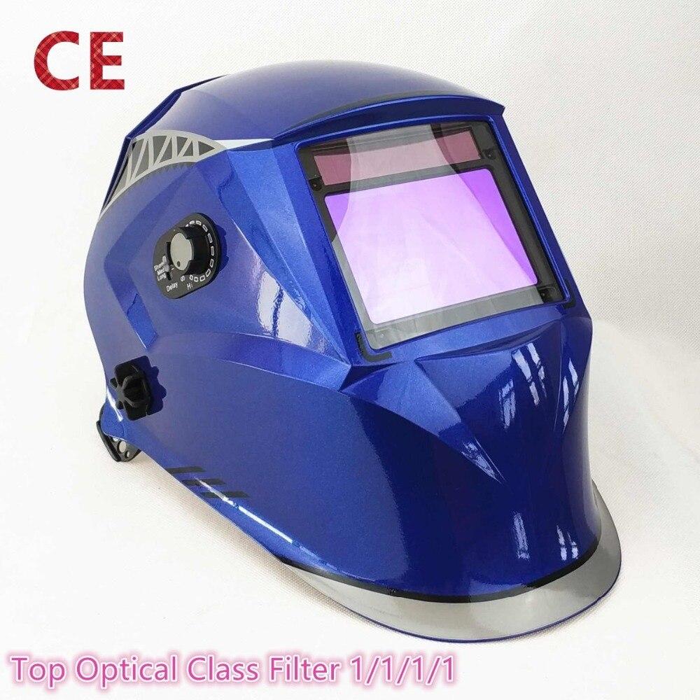 Masque de soudage 100*65mm 1111 4 Capteurs Broyage DIN 3/4-13 MMA MIG/MAG TIG CE /UL/CSA/COMME Cert Solaire Auto Assombrissement Casque De Soudage