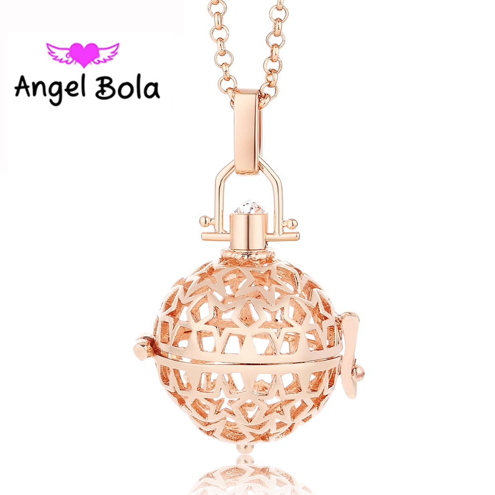 Angel Bola Aroma Pendant Ball Maternity Gift For Baby Metal Perfume Pendant DIY Necklace Cage Miagic Jewelry L057
