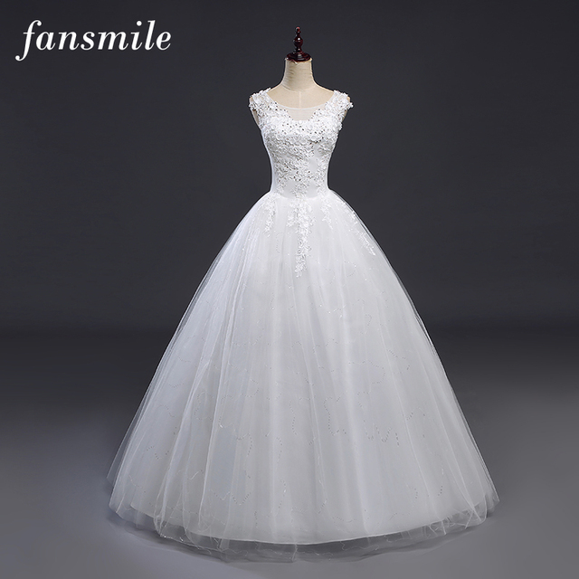 Fansmile Y Plus Size Vintage Lace Up Wedding Dresses 2017 Bridal Ball Dress Gowns Robe
